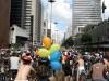A manifestação, com a Paulista ao fundo