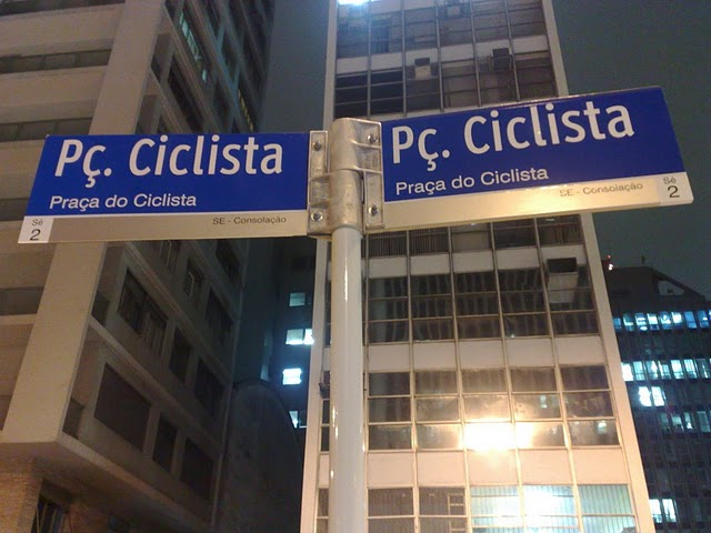 Placa da Praça do Ciclista (Paulista x Consolação). Foto: Carlos Aranha