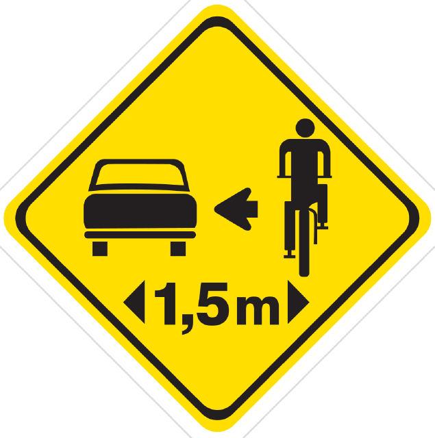 Código de Trânsito Brasileiro, Art. 201: Deixar de guardar a distância lateral de um metro e cinqüenta centímetros ao passar ou ultrapassar bicicleta: Infração - média; Penalidade - multa.