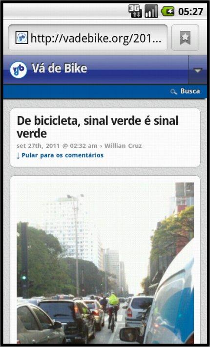 O Vá de Bike visto na tela de um telefone Android