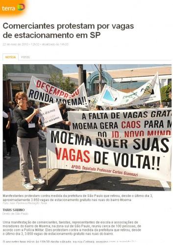Protesto contra a retirada de mais de 3 mil vagas de uma só vez, em maio de 2010