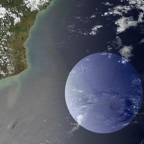 Vazamento de óleo da Chevron na Bacia de Campos, no Rio de Janeiro, em 2011. Foto: NASA/GSFC, Rapid Response