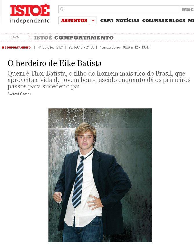 """Perfil de Thor Batista na revista Isto É: em seu aniversário de 19 anos, ganhou do pai """"um automóvel de tirar o fôlego"""". Imagem: Reprodução."""