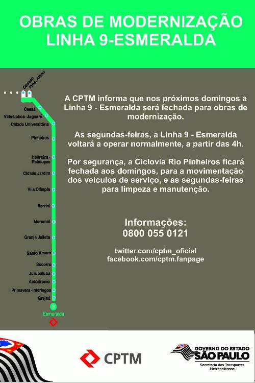 Aviso de interdição da Ciclovia Rio Pinheiros (clique para ampliar)
