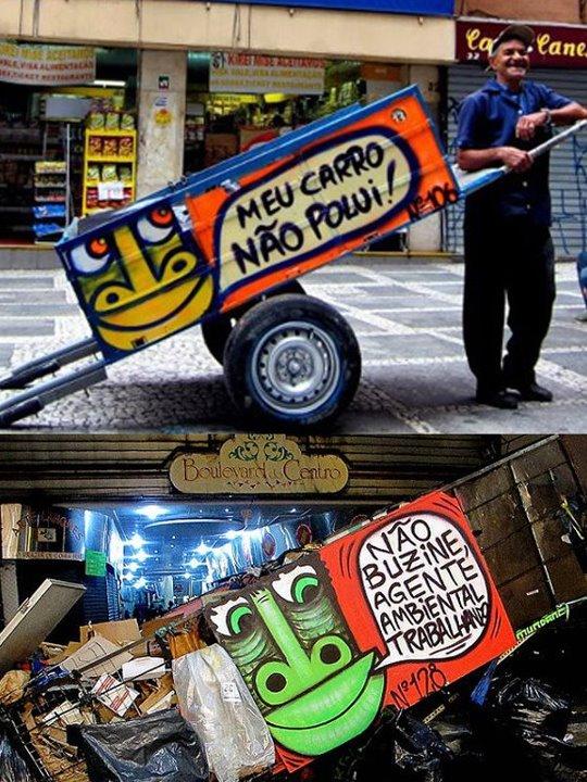 Carroças bonitas e com frases de efeito para fazer quem está no trânsito refletir. Foto: Thiago Mundano