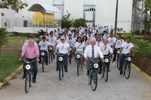 Prefeito de aracaju, Reitor da universidade, alunos e funcionários inauguram o BikeUnit