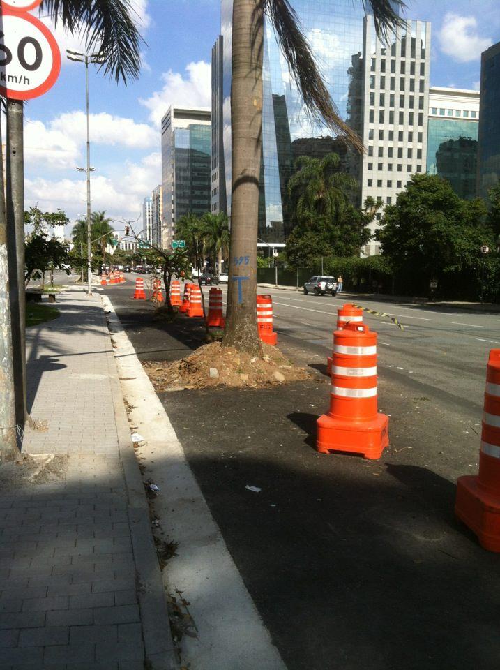 Outras intervenções, como a derrubada de árvores para incluir faixa adicional para os carros, já estão em andamento. Foto: Albert Pellegrini, em 16/06/2012.