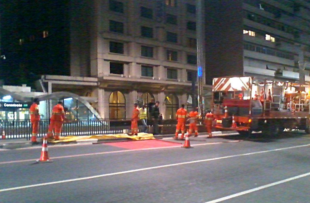 Pintura da Ciclofaixa de Lazer da Avenida Paulista. Foto: Gustavo Caixeta