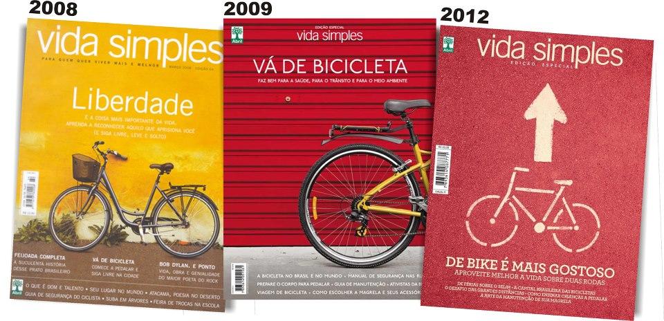 As 3 edições da Vida Simples sobre bicicleta