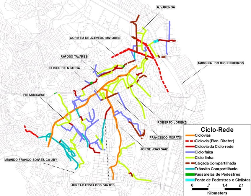 Projeto Ciclo Rede Butantã, que não foi implementado. Clique para ampliar. Fonte: Dossiê Ciclocidade/Apresentação Pró-Ciclista de Arturo Alcorta