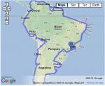 Mapa com o roteiro da viagem pela América do Sul. Clique para ampliar