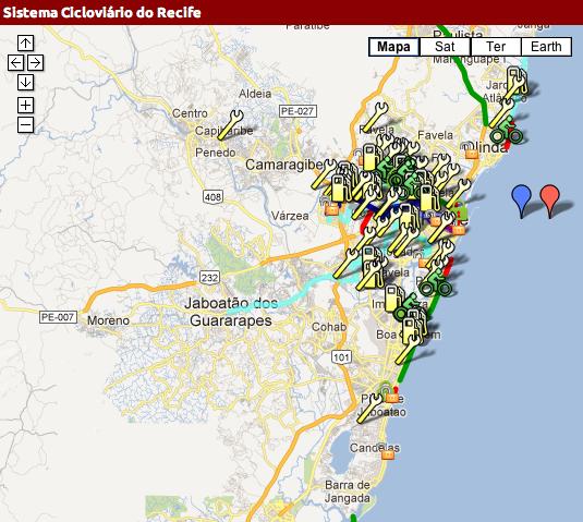 Mapa colaborativo indicam serviços do Sistema Cicloviário de Recife