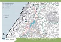 Mapa da 1ª etapa do projeto Cidade Bicicleta, na região da Arena Fonte Nova. Imagem: Conder/Jornal A Tarde