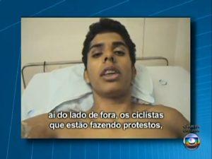 Além de agradecer ciclistas e familiares, David Souza dos Santos diz que gostaria de perdoar o atropelador. Imagem: reprodução