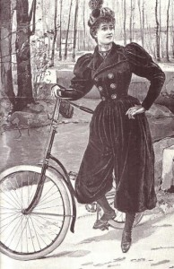 """As """"bloomers"""" permitiam liberdade de movimento e facilitavam o uso da bicicleta."""