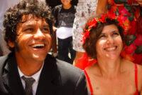 Ênio e Paty transbordando alegria, em seu casamento festivo no Recife. Foto: Erika Pessoa