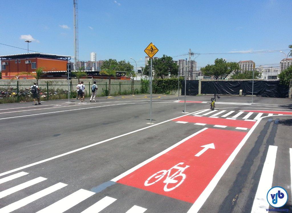 Trecho do circuito que será usado para treinamento de ciclistas no CETET: foco no uso de vias exclusivas.