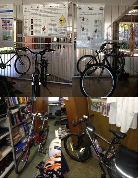 Na Universidade Federal do Rio Grande do Norte, em Natal, cartazes explicam conduta segura para ciclistas e motoristas. Os professores param as bicicletas até dentro de suas salas. Foto enviada pelo Prof. John Fontenele Araujo