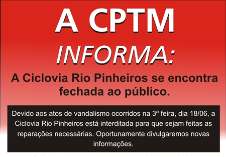 Aviso no site da CPTM informa sobre fechamento da ciclovia. Imagem: CPTM/Reprodução