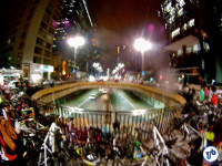 Concentração da Bicicletada, na Praça do Ciclista. Foto: Rachel Schein