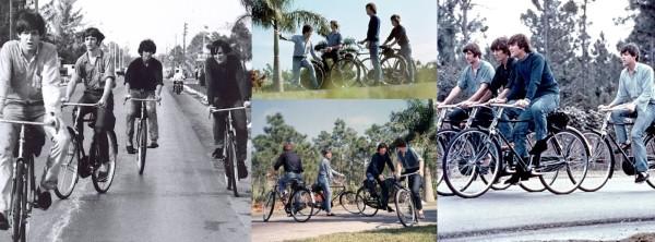 O quarteto de Liverpool, pedalando nas Bahamas em 1965, durante as filmagens de Help.