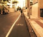 Pintada pela população, Ciclofaixa da Rua Ana Bilhar teve apoio até de motoristas que circulavam pelo local. Imagem: Massa Critica Fortaleza/Reprodução