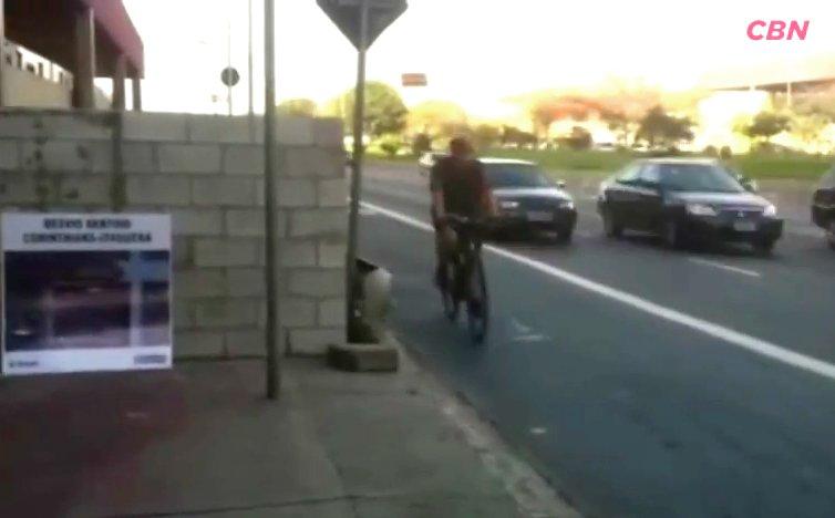 Ciclista utiliza a via dos ônibus para desviar do muro. Imagem: Annie Zanetti / CBN / Reprodução