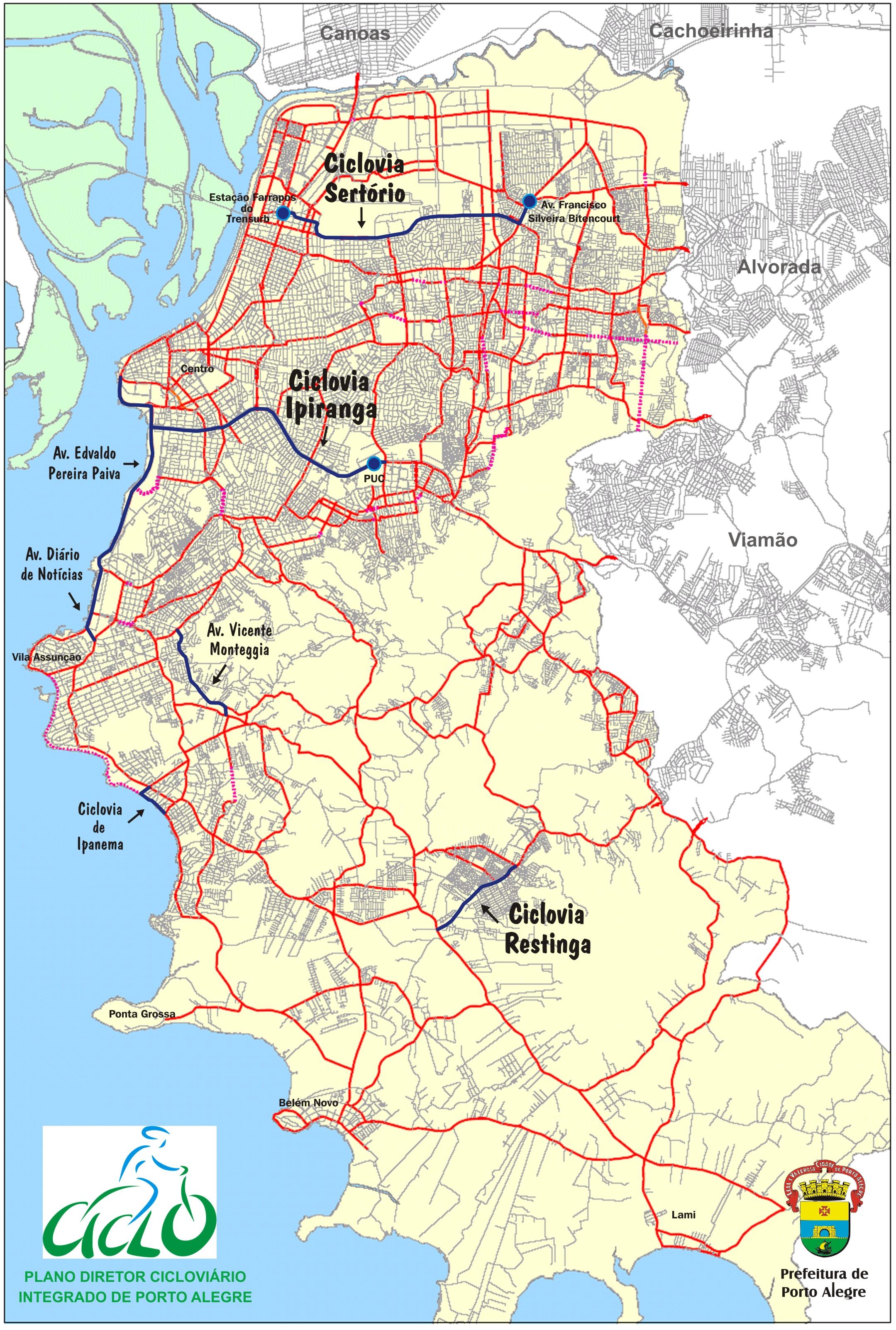 Malha prevista pelo Plano Diretor Cicloviário de Porto Alegre. Imagem: Prefeitura de Porto Alegre/Reprodução
