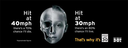 Um dos cartazes da campanha de redução de velocidade, promovida em Nova York. Imagem: DOT/Divulgação