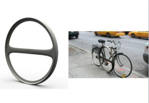 Paraciclo (suporte) estilizado. Imagem: Janette-Sadik-Khan/Reprodução