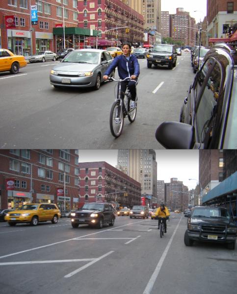 """Antes e depois: ciclistas, que precisavam trafegar junto aos carros, ganharam faixa exclusiva, com """"buffer zone"""" para garantir sua segurança."""