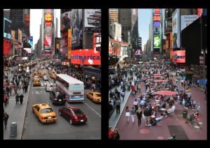"""Times Square, em Nova York, antes e depois da abertura às pessoas. Segunda a ex-secretária de Transportes, Janette Sadik-Khan, """"todos disseram que seria o fim do mundo"""", mas o trânsito acabou fluindo melhor, vendas no comércio aumentaram 50% e valor dos aluguéis nos arredores dobrou. Imagem: Janette-Sadik-Khan/Reprodução"""