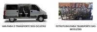 Imagens ilustrativas da van e da carreta com rack para bicicletas que serão utilizadas para passar por dentro da área da obra. Imagem: Metrô/Reprodução