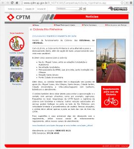 Reprodução da página do site da CPTM sobre a Ciclovia Rio Pinheiros, em 02/10/2013.