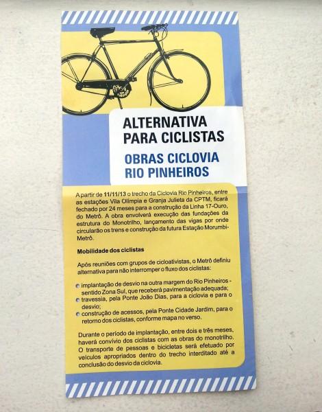 Foto enviada pelo nosso leitor Bruno mostra folheto que está sendo distribuído nos acessos à Ciclovia Rio Pinheiros.