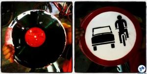 Discos de vinil foram utilizados na confecção das placas. Foto: Rachel Schein