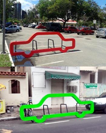 Bicicletarios em forma de carro em Vitória. Fotos: Setran/Divulgação e Joao Paulo Locately