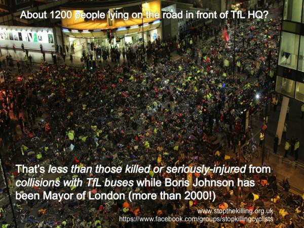 """Em protesto contra mortes no trânsito, ciclistas fazem """"die in"""" em frente à sede do Departamento de Transportes de Londres. Foto: Stop the Killing/Divulgação"""