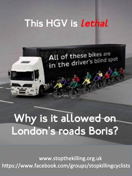 Em cartaz de protesto, prefeito de Londres é questionado sobre a perigosa presença de caminhões no centro da cidade. Foto: Stop the Killing/Divulgação
