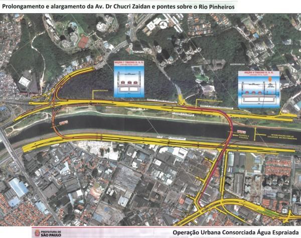 Detalhe de onde será construída a ponte. Imagem: Reprodução/Prefeitura de São Paulo