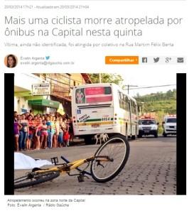 A segunda ocorrência vitimou a jovem Daise Lopes, atropelada depois de ser derrubada pela lateral do ônibus. Foto: reprodução/internet
