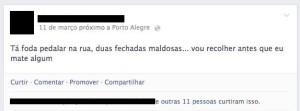 Ciclistas relatam situações de hostilidade por parte de motoristas em Porto Alegre. Foto: reprodução/Facebook