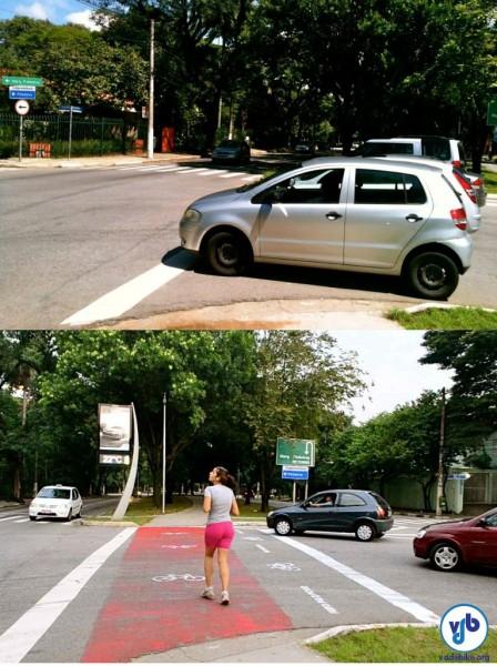 Antes e depois: intervenção teve efeito positivo. Neste local, porém, ainda é necessária a instalação de semáforo para garantir a segurança de pedestres e ciclistas. Foto: Rachel Schein