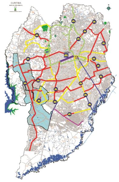 Plano Cicloviário inclui ciclovias, ciclofaixas, vias compartilhadas com pedestres e as vias calmas, com velocidade reduzida e preferência para o trânsito de bicicletas. (Imagem: reprodução PDC - IPPUC)
