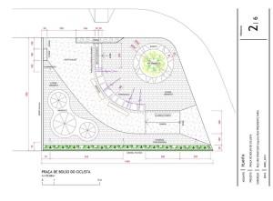 Planta de parte do projeto da Praça de Bolso do Ciclista, elaborada por arquitetos do Instituto de Pesquisa e Planejamento Urbano de Curitiba (IPPUC). Crédito: Reprodução IPPUC