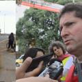 Para Jilmar Tatto, São Paulo está bastante atrasada em termos de bicimobilidade. À esquerda, secretário cruza as faixas de uma avenida, na saída de uma ponte. Imagens: Rachel Schein