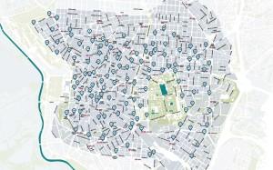 Mapa das estações do BiciMad (julho/2014). Imagem: Divulgação