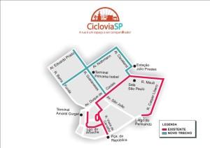 Mapa da estrutura cicloviária do Centro Histórico (até 18/jul). Clique para ampliar. Imagem: CET/Divulgação