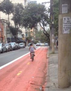 Menina pedala em ciclovia da R. Dr. Albuquerque Lins. Foto: Alex Gomes