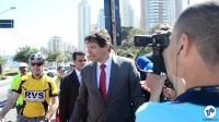 Prefeito Fernando Haddad durante inauguração da ciclovia.